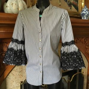 NWT Bell Sleeve Black Lace Shirt